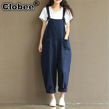 Plus Size Summer Jumpsuit Autumn Women Cotton Linen Overalls Blue Wedding Elegant Jumpsuits Sleeveless Pant bodysuit women V