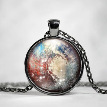 Planet Pluto Necklace Pendant Jewelry Space, Galaxy, Celestial, Solar System,Pastel