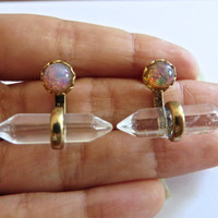 Quartz Crystal Ear Jackets Jacks Pink Opal Stud Earrings Post Gold Bar Double Terminated Sideways Drop Split Front In Out Peekaboo Jewelry