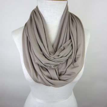 Taupe Infinity Scarf - Tan Jersey Scarf - Beige Circle Scarf