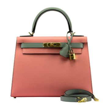 Rare Hermes Kelly Bag 28 Sellier Epsom Leather Pink Alizee / Grey CZ GHW 2017