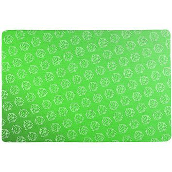 D20 Gamer Critical Hit and Fumble Green Pattern All Over Game Dice Mat