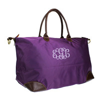 Monogrammed Purple Longchamp Inspired X-Large Weekender/Carry On Bag