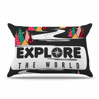 "Famenxt ""Explore the World"" Black White Pillow Case"