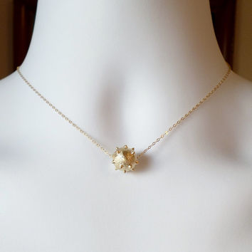 Gold Studded Ball Necklace - Gold Ball Necklace - Tiny Gold Ball Necklace -  Christmas Gift
