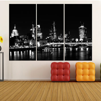 london skyline Large skyline wall art canvas Print, London canvas print wall art, extra large wall art, gallery art, black and white  iki48