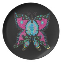 PSYCHEDELIC BUTTERFLY MELAMINE PLATE