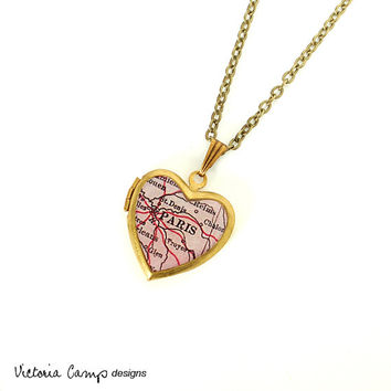 Paris Antique Map Necklace on Small Vintage Brass Heart Locket, France, Europe, Map Jewelry, Photo Locket