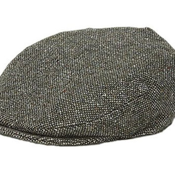 Hanna Hats Men's Donegal Tweed Vintage Cap Forest Green Salt & Pepper Medium