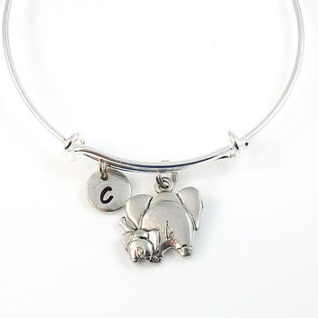 Baby Elephant Initial Bangle, Mom and Baby Animal Charm bangle, Expandable bangle, Personalized bracelet, Monogram, stamped bracelet