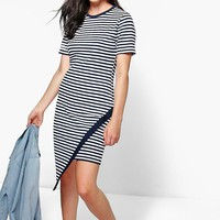 Mimi Stripe Asymmetric Bodycon Dress