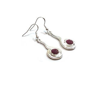 Sterling Silver Faceted Ruby Gemstone  Earrings