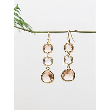 Three Tier Sparkling Earrings