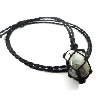 Moonstone necklace, macrame jewel, moonstone crystal, acceptance necklace, gift for Mom, healing stones, pregnancy gift, wrapmeacrystal