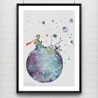 The Little Prince Watercolor Art Poster Print, Baby Nursery Art, Kids Decor, Minimalist Home Decor Not Framed, Buy 2 Get 1 Free! [No 22]