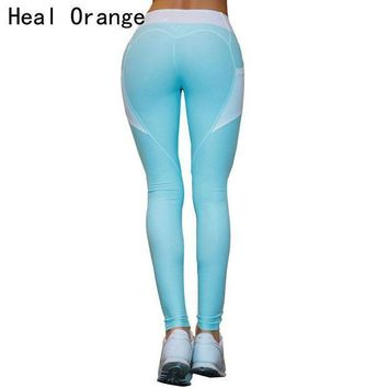 PEAPFS2 HEAL ORANGE Heart Patchwork Sport Leggings Women Push Up Sexy Yoga Pants Leggins Fitness Clothing Running Tights Gym Sportswear