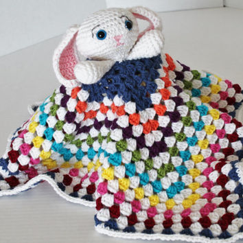 Crochet Cuddly Blanket with Stuffed Lil Rabbit/Bunny - Kids Toy