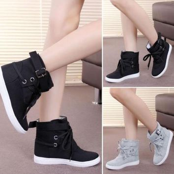 Fashion Women Lady Lace Up Sneakers Buckle Strap Hiking Flats Ankle Boots High Top Can