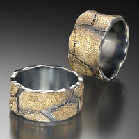 Cobblestone Bands  by Jenny Reeves: Gold   Silver Ring - Artful Home