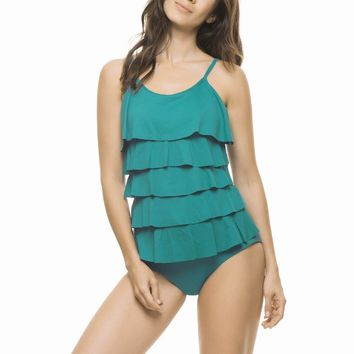 Estivo Green Blue Ruffled One Piece