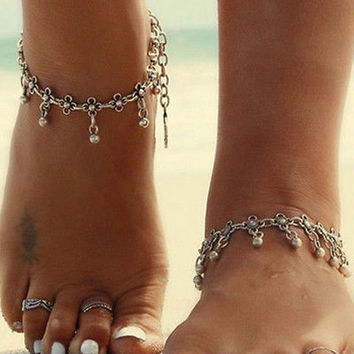 Women Gold Silver Plated Toe Ring Ankle Bracelet Chain Foot Jewelry Anklet HU