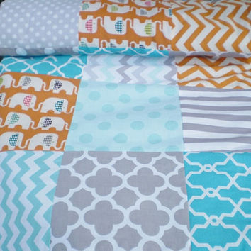 Modern Baby quilt,Patchwork Crib quilt,baby boy bedding,baby girl quilt,woodland,rustic,Birch organic,teal,grey,orange,elephant,chevron,lap