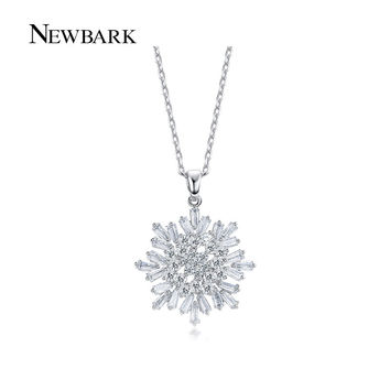 NEWBARK Snowflake Necklaces Pendant Sparkling Cubic Zirconia Diamond Necklace White Gold Plated Chain Women Jewelry Bijoux Gifts