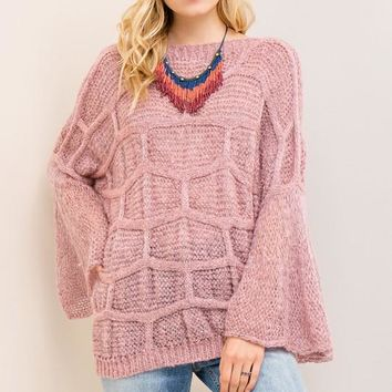 Textured Bell Sleeve Sweater - Mauve