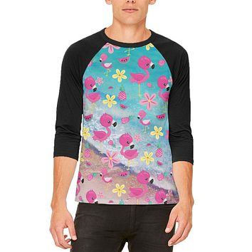 Summer Tropical Beach Flamingos Mens Raglan T Shirt