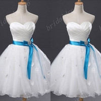 White Ruffled Sweetheart Strapless Bowknot Waistband Flower Short Bridesmaid Dress,MIni Tulle Ball Gown Evening Party Cocktail Prom Dress
