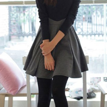 Black and Gray Long Sleeve Color Block Dress