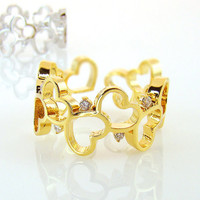 Best Friends Heart Ring Gold Silver Crystal Jewelry Love Adjustable Free Size gift idea