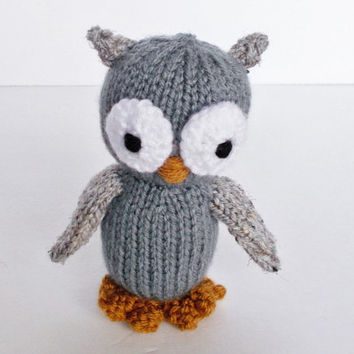 Hand Knit Stuffed Owl, Ready To Ship, Small Stuffed Animal, Kids Gift, Little Baby Toy, Newborn Photo Prop, Plush Woodland Knit Toy Owl 5""
