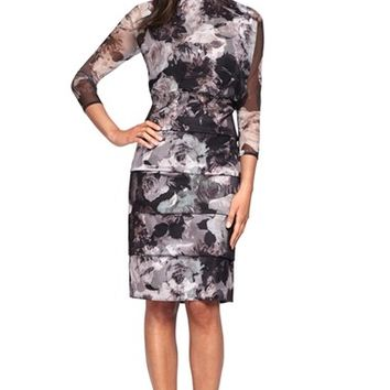Women's Alex Evenings Floral Tulle Blouson Dress,