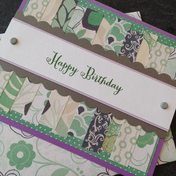 Handmade Happy Birthday Greeting Card, Great for a Woman, Girlfriend, Mother, Sister, Wife, Grandmother, Scrapbook Paper, Floral Design