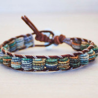 Boho Leather Bracelet, Shabby Chic, Fabric Textile Beads, BLUE