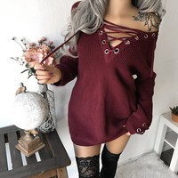 ONLY S/M LEFT - Jaymie Lace Up Sweater Dress