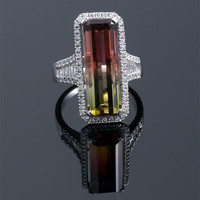 Bi-Color Tourmaline & Diamond Ring