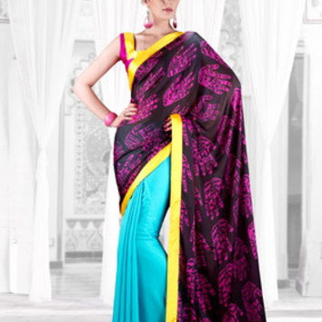 Glamororus Purple & Blue Designer Bollywood Saree D-209-B