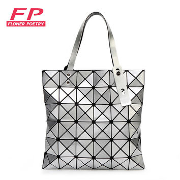 Issey Miyak Fashion Handbags Laser Geometric Diamond Shape PU Sliver Paint Patchwork Tote Women Shoulder Bag Bao Bao Bags 6*6