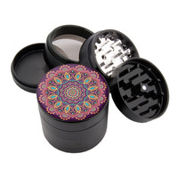 "Love Child Mandala - 2.25"" Premium Black Herb Grinder"