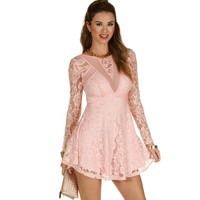 Sale-think Pink Lace Dress