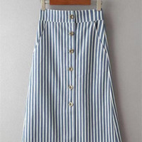 High Waist Striped Single-Breasted Denim Skirt