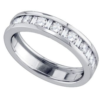 14kt White Gold Womens Alternating Round Baguette Diamond Single Row Wedding Band 1.00 Cttw