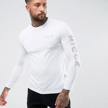 Nicce London Long Sleeve T-Shirt With Camo Sleeve Logo at asos.com