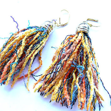 Tassel Earrings, Fringe earrings, Multicolor Earrings, Statement earrings, Tassel multicolor, orange yellow earrings, blue yellow earrings,