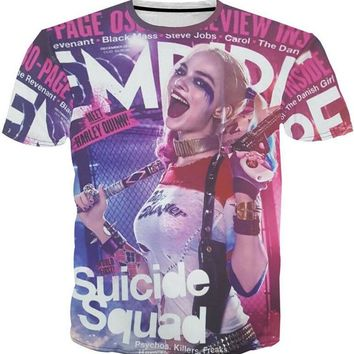 12 Styles Suicide Squad 3D T-shirts Arkham Asylum Harley Quinn Joker Cosplay T-shirt Unisex Casual Costume Tee Shirts
