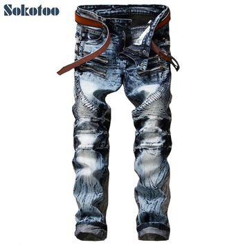 Sokotoo Men's fashion slim straight biker jeans Casual acid snow wash denim pants Pleated long trousers
