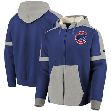 Men's Chicago Cubs Fanatics Branded Royal/Gray Iconic Bold Full-Zip Hoodie