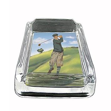 Perfection In Style Glass Square Ashtray Vintage Golf Design 002